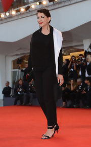 Marina Abramovic's studded black sandals were a sexy complement to her subdued outfit.