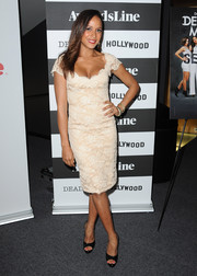 Dania Ramirez showed some cleavage in a low-cut nude lace dress during the screening of 'Devious Maids.'