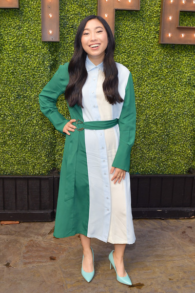Awkwafina Shirtdress [the hollywood reporter,green,clothing,lady,outerwear,dress,long hair,fashion design,formal wear,costume,awkwafina,hollywood roosevelt hotel,california,audi,afi fest,indie contenders,tcl,indie contenders roundtable]