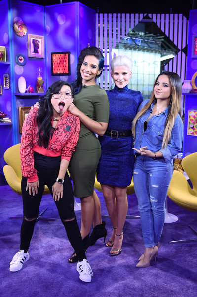Awkwafina Ripped Jeans [performance,fashion,yellow,event,fun,electric blue,leisure,musical,stage,fashion design,carly aquilino,becky g,awkwafina,nessa,girl code live,tv personality,l-r,mtv studios,new york city,mtv]