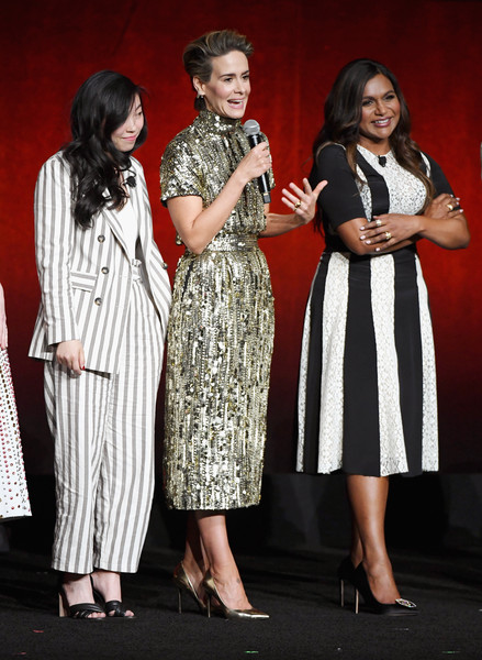 Awkwafina Pantsuit [the big picture,warner bros. pictures invites you to,fashion,event,performance,fashion design,dress,formal wear,talent show,style,actors,awkwafina,sarah paulson,mindy kaling,slate,l-r,cinemacon,convention]