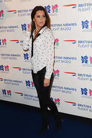 Danielle Bux kept it casual in a print button-down shirt at The BA Great Britons Programme Launch.