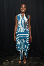 Issa Rae looked breezy in a blue and white striped shirtdress by Tome at the No Commission event.