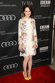 Michelle Dockery's long-sleeve, high-neck print dress at the BAFTA LA TV Tea had an elegant vintage feel.