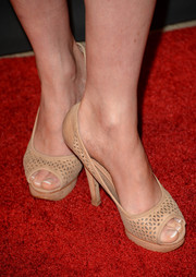 Lara Pulver stepped out on the BAFTA LA red carpet wearing stylish nude cutout peep-toes.