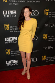Lara Pulver went for a minimalist-chic look with this yellow mini dress at the BAFTA LA TV Tea.