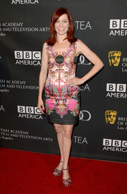 Carrie Preston chose a sleeveless print mini dress for her red carpet look during the BAFTA LA TV Tea.