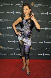 Vanessa Williams looked undeniably glamorous in black and gray striped snakeskin platforms.