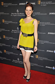 Sarah Drew brightened the red carpet of the BAFTA Los Angeles Awards Season Tea Party in a yellow belted mini dress.