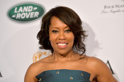 Regina King was glamorously coiffed with this loose updo at the BAFTA Los Angeles Tea Party.
