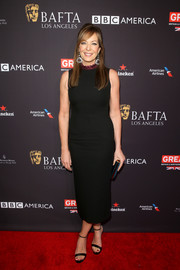 Allison Janney went for a minimalist black Roksanda dress with a contrast ruffle neckline when she attended the BAFTA Los Angeles Tea Party.