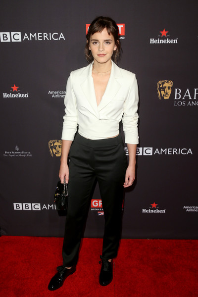 More Pics of Emma Watson Half Up Half Down (1 of 5) - Updos Lookbook - StyleBistro [formal wear,fashion model,flooring,suit,fashion,shoulder,carpet,gentleman,tuxedo,product,arrivals,emma watson,los angeles,four seasons hotel,california,beverly hills,bafta,tea party]