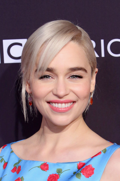Emilia Clarke styled her hair into a classic updo with side-swept bangs for the BAFTA Los Angeles Tea Party.