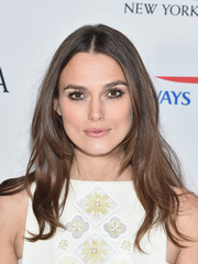 Keira Knightley wore her hair loose in a face-framing, center-parted style during the BAFTA New York event.