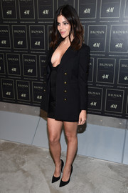Julia Restoin-Roitfeld cooled down her sizzling-hot LBD with a double-breasted blazer while attending the Balmain x H&M collection launch.