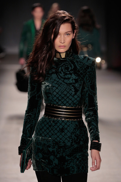 More Pics of Bella Hadid Little Black Dress (5 of 5) - Bella Hadid Lookbook - StyleBistro [fashion model,fashion show,fashion,runway,clothing,public event,haute couture,event,dress,waist,bella hadid,collection launch - runway,runway,new york city,23 wall street,balmain x,h m,h m collection launch]