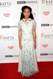 Yara Shahidi was classic and demure in a printed maxi dress by Tommy Hilfiger at the BAFTA Los Angeles TV Tea Party.