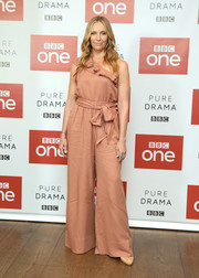 Toni Collette attended the 'Wanderlust' photocall wearing a one-shoulder jumpsuit with a ruffled neckline.