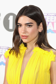 Dua Lipa wore her hair down in a straight center-parted style at the 2017 BBC Radio 1 Teen Awards.