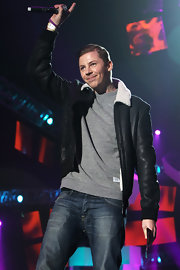 Professor Green spiced up his casual outfit with a black leather bomber jacket featuring a white collar at the BBC Radio 1 Teen Awards.