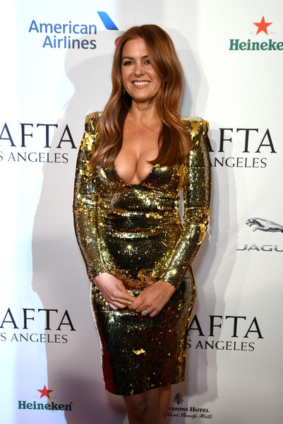 More Pics of Isla Fisher Long Wavy Cut (2 of 9) - Isla Fisher Lookbook - StyleBistro [clothing,dress,cocktail dress,yellow,shoulder,carpet,fashion,joint,red carpet,long hair,isla fisher,tea party,los angeles,four seasons hotel,beverly hills,california,bbca bafta,bbca bafta tea party]