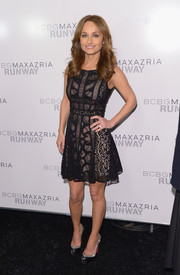 Giada De Laurentiis looked fetching in a multi-patterned sheer-overlay LBD during the BCBG Max Azria fashion show.