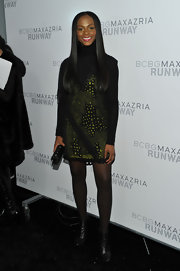 Tika Sumpter donned on-trend black leather ankle boots to the BCBGMAXAZRIA Fall 2011 show.