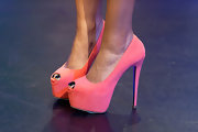 Paigion opted for a super-high platform pump with a peep toe in a bubblegum pink hue for her appearance on '106 and Park.'