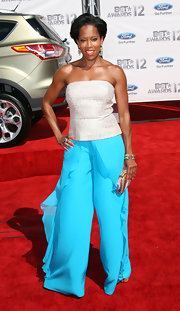 Regina King opted for separates, consisting of a strapless silver top and billowy turquoise pants, when she attended the 2012 BET Awards.