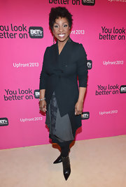 Gladys Knight chose this navy blue blazer to pair over her evening dress for a sleek and professional look at the BET 2013 LA Upfront event.