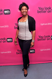 Gladys Knight chose a white and black checkered blouse for her mature and sophisticated look at BET's Upfront event in NYC.