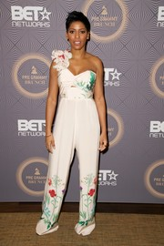 Tamron Hall channeled spring in a Johanna Ortiz floral jumpsuit with a ruffled shoulder strap during BET's pre-Grammy brunch.