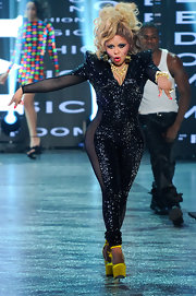 Lil Kim wore this glittering jumpsuit to perform at BET's Rip the Runway show.