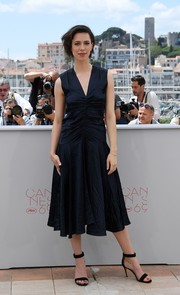 Rebecca Hall chose a navy cocktail dress with a ruched midsection for the 'BFG' photocall at Cannes.