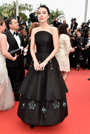 Ulyana Sergeenko donned a tiered, strapless black gown from her own label for the Cannes premiere of 'The BFG.'
