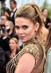 Carly Steel worked a partially braided, teased ponytail at the Cannes premiere of 'The BFG.'