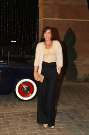 Jelena Jankovic went for retro elegance with these bow-adorned black wide-leg pants at the BNP Paribas Open players' party.