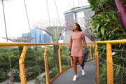 Naomi Osaka toured Singapore wearing a cute striped mini dress.
