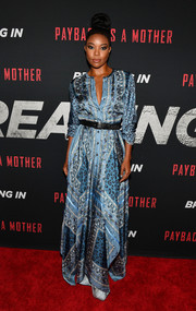 Gabrielle Union looked charming in a blue scarf-print maxi dress by Altuzarra at a private screening of 'Breaking In.'