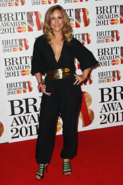 Heidi Range added a hot accent to her plain black jumpsuit -- a dangerous-looking metal belt.