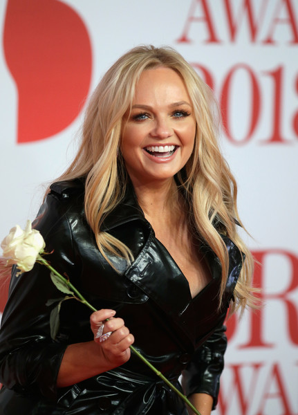 More Pics of Emma Bunton Pumps (1 of 7) - Heels Lookbook - StyleBistro [hair,blond,leather,hairstyle,long hair,textile,smile,brown hair,layered hair,jacket,red carpet arrivals,emma bunton,brit awards,relation,the o2 arena,england,london]