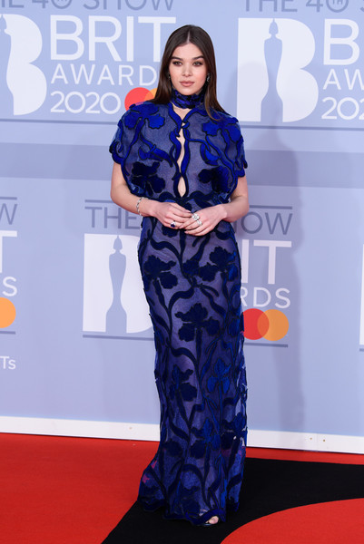 Hailee Steinfeld looked fab in an embroidered electric-blue gown by Fendi Couture at the 2020 BRIT Awards.