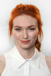 Eleanor Tomlinson styled her tresses into a loose ponytail for her visit to Build LDN.