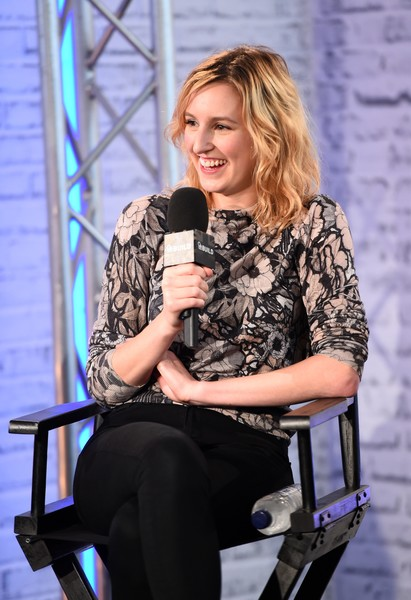 Laura Carmichael was casual and sweet in a long-sleeve floral top at the Build Series.