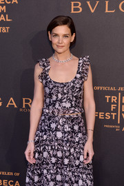 Katie Holmes showed off a diamond chain bracelet and a matching necklace by Bulgari at the premiere of 'The Conductor.'