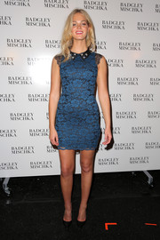 Erin Heatherton donned a tight blue lace mini for the Badgley Mischka fashion show.