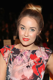 Lauren Conrad rocked a fierce red lip at the Badgley Mischka spring 2013 runway show.