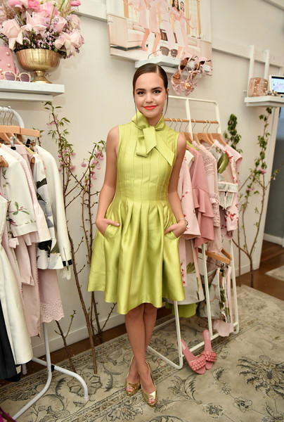 Bailee Madison Cocktail Dress [clothing,green,pink,fashion,yellow,fashion design,dress,trench coat,vintage clothing,outerwear,bailee madison,launch dinner,london,los angeles,california,ted baker,ted baker london ss18 launch dinner]