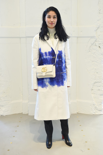 More Pics of Caroline Issa Studded Boots (1 of 1) - Caroline Issa Lookbook - StyleBistro [white,clothing,blue,fashion,cobalt blue,footwear,knee,electric blue,fashion design,outerwear,bally autumn winter 2019 press presentation,milan,italy,caroline issa]