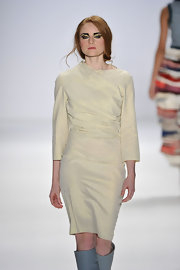 Barbara Meier strutted down the catwalk of the Baltic Fashion Catwalk Show in a modified  wrap dress by Gregor Gonsior.